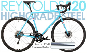 Paint or REAL CHROME! HYDRAULIC Disc Brakes, Magic Ride, Full Reynolds 520 CrMo, Shimano RX400 2X10